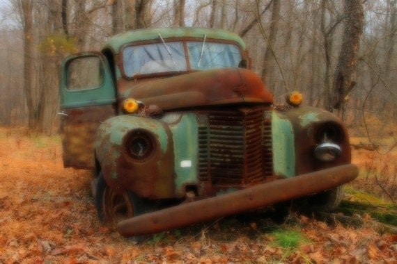 Rusty Old Green Truck Color Photograph Autumn Landscape Photography Rustic Past Its Prime Shabby Chic Rust Earth Tones Art Print