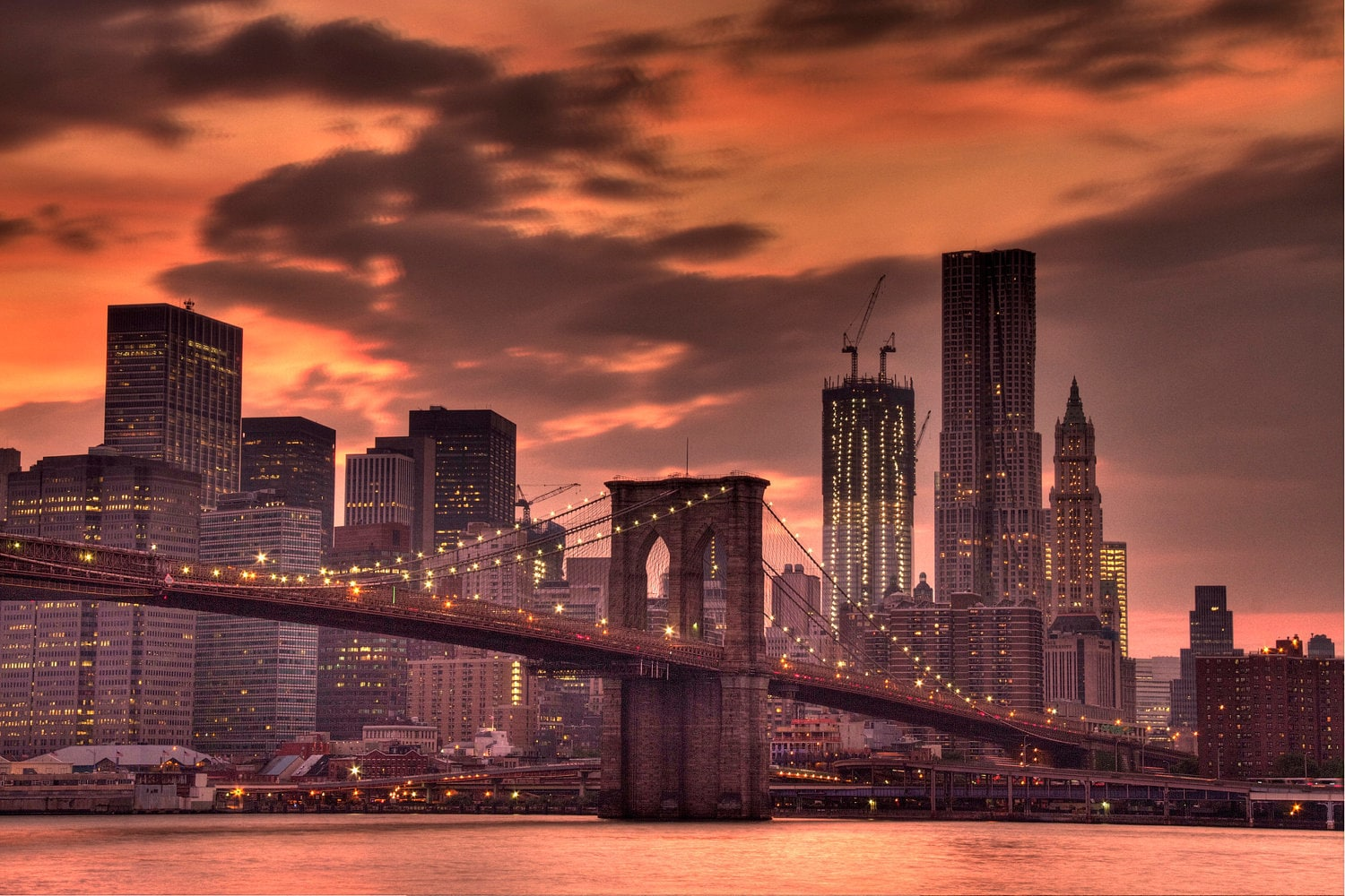 new york city photograph sunset brooklyn bridge urban. Black Bedroom Furniture Sets. Home Design Ideas