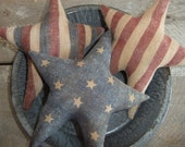 Primitive  Americana Star Bowl Fillers Ornies painted flags