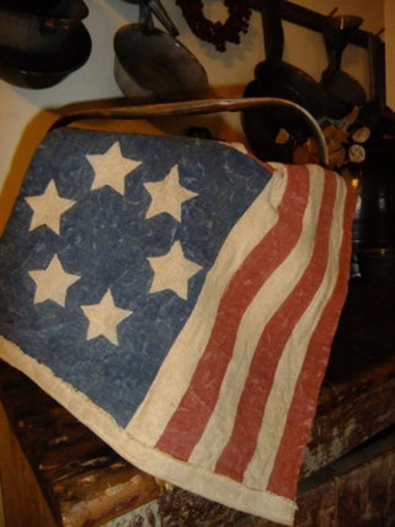 Primitive Hand Painted Americana Flag Table Runner