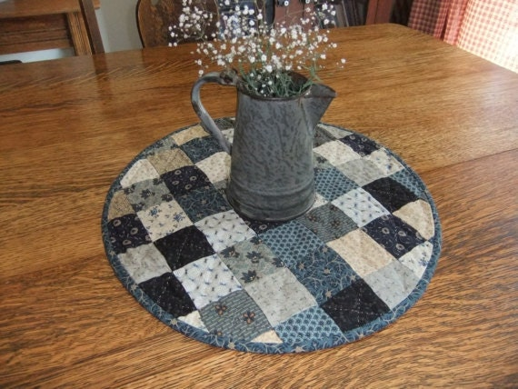 Round Quilted Table Topper Blue And White By