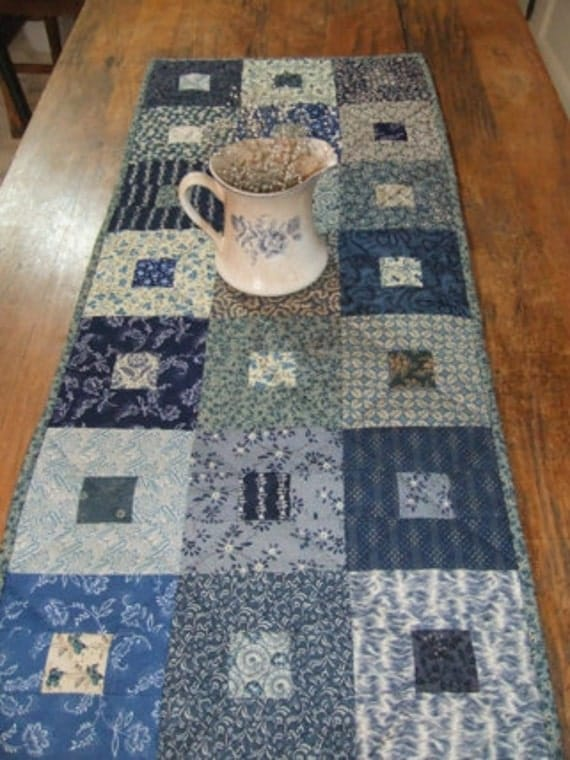 Classic Blues Quilted Table Runner Country Shabby Chic Farmhouse French Country Cottage Chic Decor