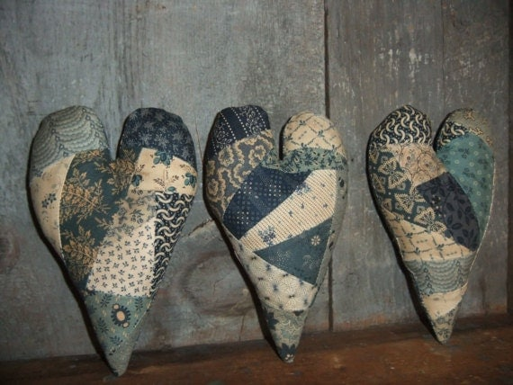 Crazy Quilt Heart Bowl Fillers Blue White French Country Shabby Chic Primitive Farmhouse Cottage Chic Decor