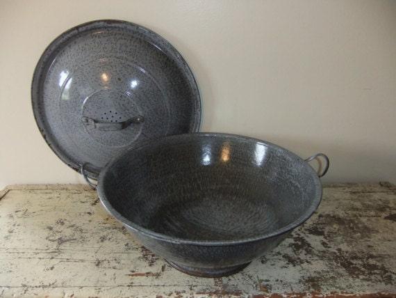 Gray Graniteware Bread Dough Riser  Bowl