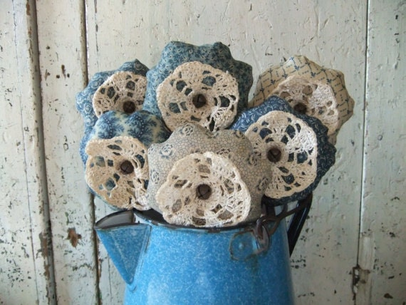 Doily Flowers Blue and White Farmhouse Cottage Chic Shabby Chic French Country Rustic Decor