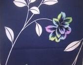SALE PASTEL  Vintage vintage Japanese  Kimono Yukata Cotton FLORAL  Indigo Blue  14 X 52 inches