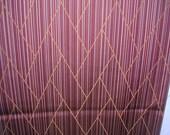 SALE   Vintage Japanese kimono silk BURGUNDY  Stripe 14 x 62 inches   TREASURY Item