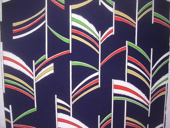 Vintage Kimono wool  FLAGS  14 x 51 inches  Treasury Item