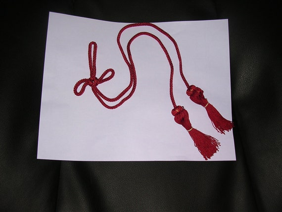 RED ornate Japanese vintage silk tassels with braided cord.  19 inches