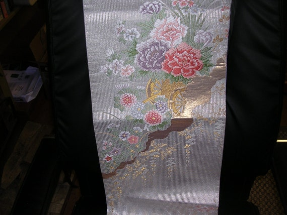 Stunning FLORAL CARRAGE  Japanese silk Obi panel Peonies  11.5 x 50 inches.  TREASURY item