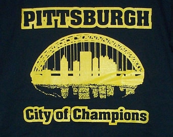 Pittsburgh City of Champions T-Shirt Gold on Black