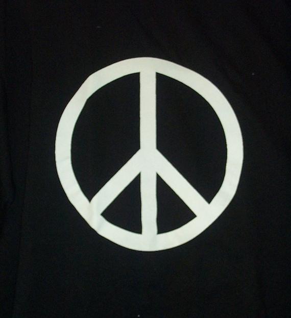 Peace Symbol T-Shirt white on black short sleeve cotton tee