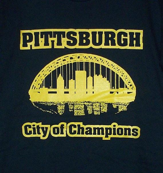 Pittsburgh city of champions t shirt gold on black for Custom t shirt printing pittsburgh