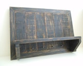 Rustic Black Shelf with Nail Hooks