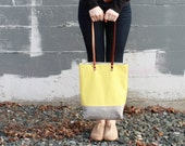 color block tote bag purse in yellow and gray with leather straps by rouge & whimsy