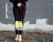 color block purse crossbody bag in gray and yellow by rouge and whimsy