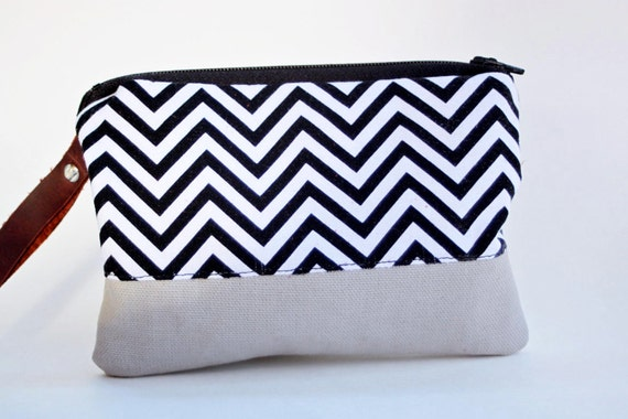 wristlet clutch in black and white chevron with gray bottom by rouge and whimsy