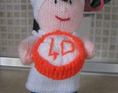 Hand Knitted  Little Chef  White, Navy Blue with Orange & White cake Birthday Gift