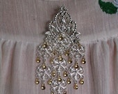 Ingebjorg - Lovely Traditional Norwegian Solje Style Silver Plated Filigree Crown and Heart Bunad Brooch Pin with Gold Drops