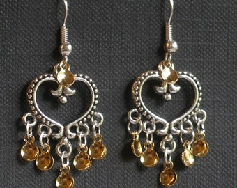 Emilie - Antique Silver Plated Heart Traditional Norwegian Solje Style Earrings with golden drops