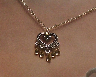 Maeva - Traditional Norwegian Antique Heart Solje Style Necklace with golden drops