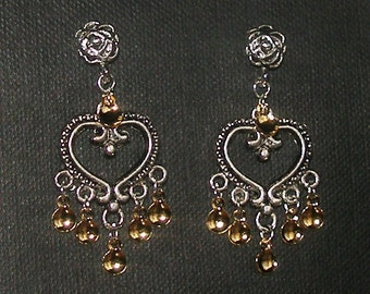 Sofie - Antique Silver Plated Hearts Traditional Norwegian Solje Style Earrings with golden drops on rose posts