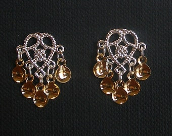 Halla - Lovely Traditional Norwegian Solje Style Filigree Heart Post Earrings with Golden Drops