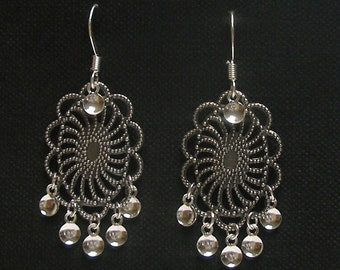 Agnete - Antique Silver Plated Oval Filigree Traditional Norwegian Solje Style Earrings with Silver Drops on Silver Plated Earwires