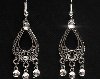 Ingrid - Traditional Antique Silver Teardrop Filigree Norwegian Solje Style Earrings with Silver Drops and Silver Plated Earwires