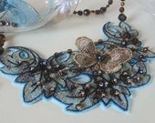 Reserved OOAK Beaded Necklace with Embroidery - GOLDEN BUTTERFLY