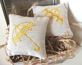 Lavender Sachets YELLOW UMBRELLA - Set of Two Embroidered Lavender Linen Cushions