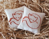 Lavender Sachets FOXY- Set of Two Embroidered Linen Cushions