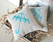 Lavender Sachets TURQUOISE UMBRELLA - Set of Two Embroidered Linen Cushions