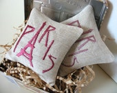 Lavender Sachets PARIS - Set of Two Embroidered Linen Cushions