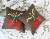 Lavender Sachets CHERRY LOVE - Set of Two Embroidered Linen Cushions