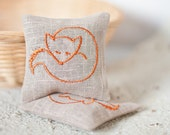 Lavender Sachets FOXY - Set of Two Embroidered Linen Cushions