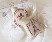 Lavender Sachets FLEUR de LIS and PARIS - Set of Two Embroidered Linen Cushions - Last One