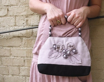 Suede Purse MARGARET in Lavender Color  - OOAK