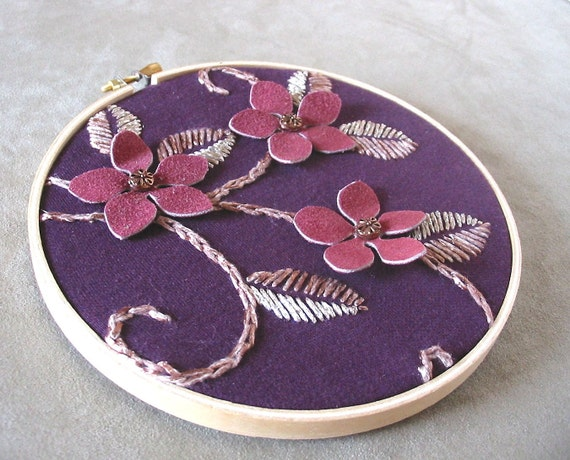 Hand Embroidered Wall Hanging  - CHERRY BLOSSOM