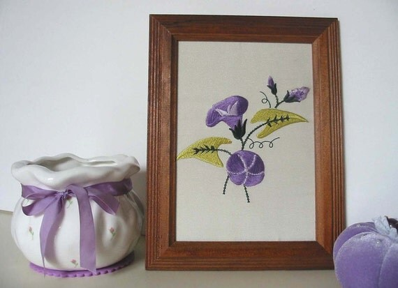 Vintage Framed Machine Embroidery MORNING GLORY