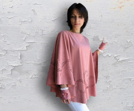 Poncho from Suede VIOLA - OOAK Shabby Chic