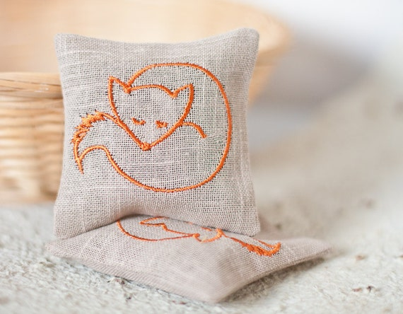 SALE Lavender Sachets FOXY - Set of Two Embroidered Linen Cushions - Christmas Gift