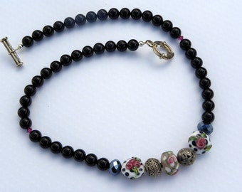 Rose Lampwork with Black Onyx Necklace