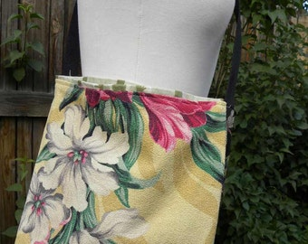 Yellow Tropical Print Vintage Barkcloth Bag/Purse