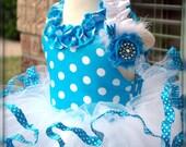Minnie Mouse Themed Tutu Dress In Blue Polka Dots