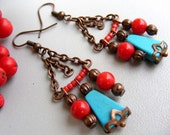 Turquoise chandelier earrings, turquoise drop earrings, turquoise red coral dangle, mothers day gift, boho bohemian gypsy earrings gemstones