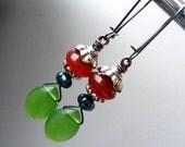 Agate drop earrings agate green glass birthstone gemstone dangle earring drop jewelry bohemian victorian boho chic earring cluster briolette