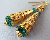 Deep Lake teal Mother's day gift, dangle drop earrings, emerald pantone, emerald gold earrings, filigree jewelry, gift earrings, boho sale