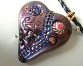 Steampunk sacred heart wing metall goth, bold polymer clay pendant, Statement eco friendly, beadwork bib boho necklace strand death rock