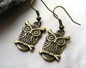 Owl earrings for daughter Bronze owl earring for her dangle owl earrings owl charm earrings drop earrings recycled nature woodland bird boho